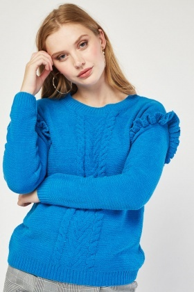 Frilly Sleeve Panel Knit Jumper