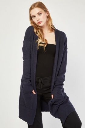Open Front Pockets Long Line Cardigan