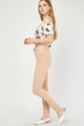 Skinny Fit Plain Trousers