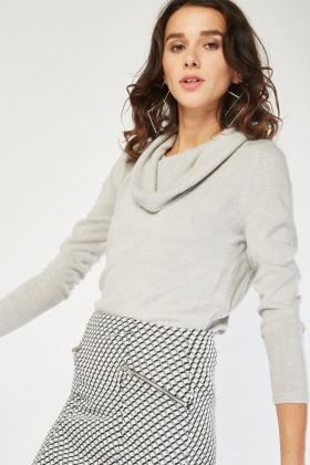Cowl Neck Fine Knitted Jumper