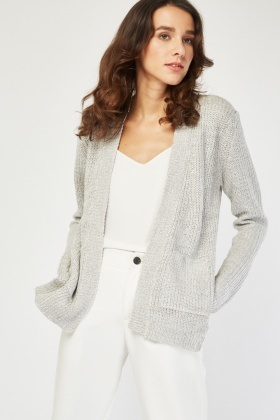 Grey Herringbone Knit Cardigan