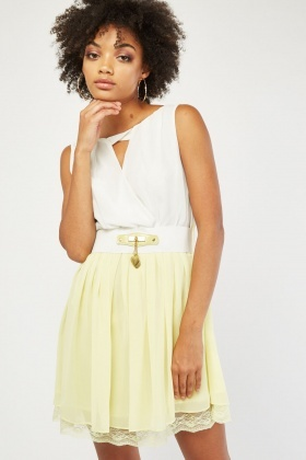 Keyhole Front Mini Skater Dress