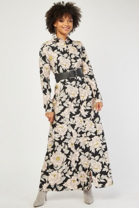 Large Flower Print Maxi Shirt Dress