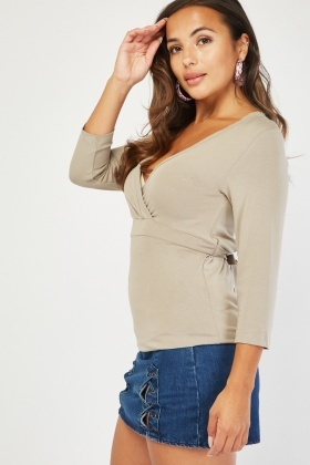 3/4 Sleeve Basic Wrap Top