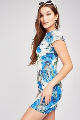 Botanical Flower Print Mini Dress