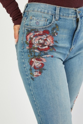 Embroidered Rose Panel Jeans