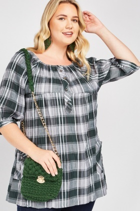Gathered Top Panel Plaid Blouse