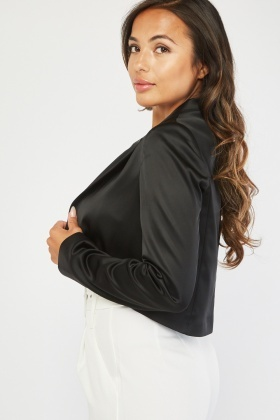Lapel Front Sateen Crop Blazer