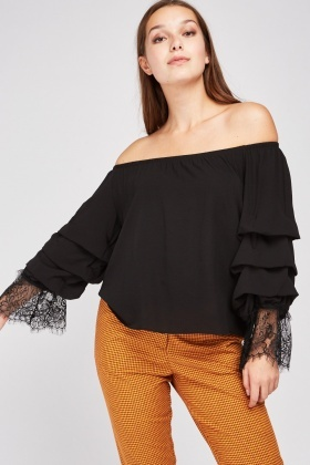 Layered Lace Trim Bardot Blouse