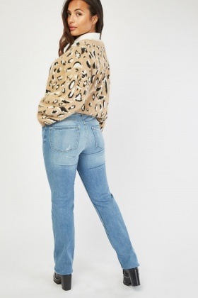Low Waist Distressed Blue Jeans