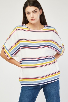 Multi Stripe Slouchy Top