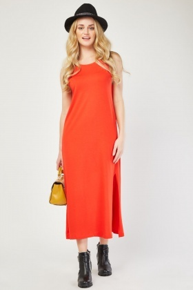Scoop Neck Maxi Jersey Dress