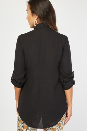 Sheer Flap Pockets Front Shirt