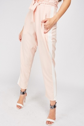 Tapered Trousers With Contrasted Side