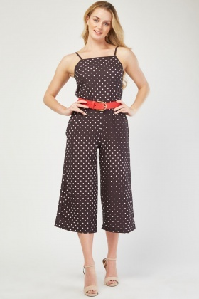 Wide Leg Crop Polka Dot Jumpsuit