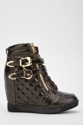 Diamond Stitched Wedge Boots