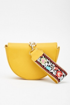 Embroidered Flower Strap Clutch Bag