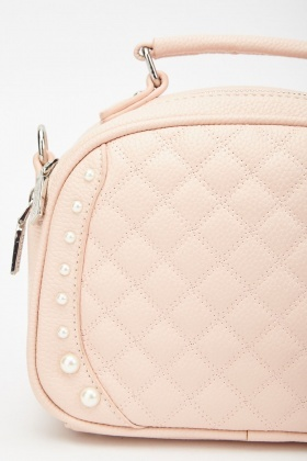 Faux Parl Trim Quilted Bag
