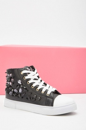 Gemstone Embellished High Top Plimsolls