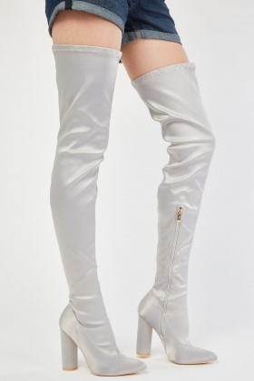 Sateen Thigh High Heeled Boots