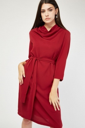 Cowl Neck Belted Dress
