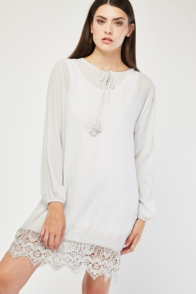 Crochet Hem Tunic Dress