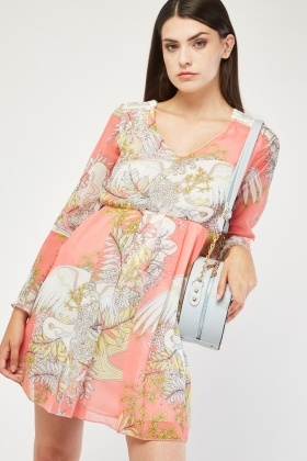 Lace Insert Printed Chiffon Dress