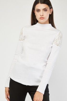 Lace Insert White Jersey Top
