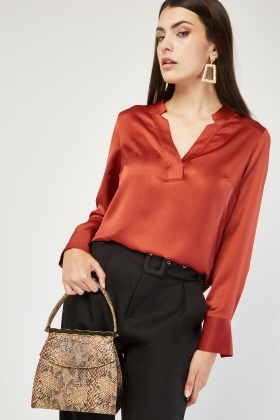 Long Sleeve Silky Brick Blouse