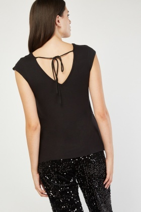 Sequin Embellished Black Top