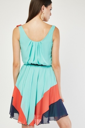 Spiral Colour Block Swing Dress