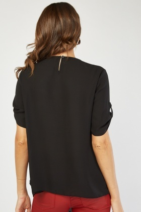 Textured Panel Chiffon Contrast Blouse