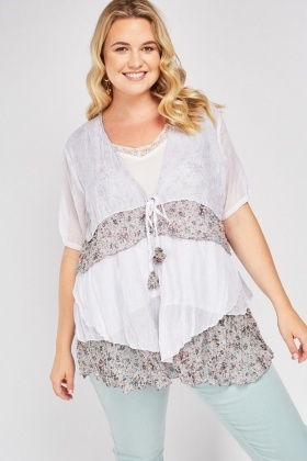 Tiered Floral Contrast Top