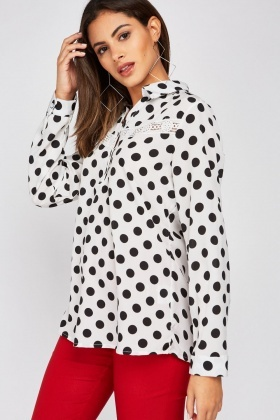 Crochet Panel Polka Dot Blouse