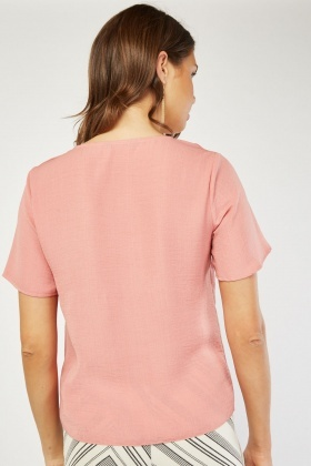 Dusty Pink Button Front Blouse