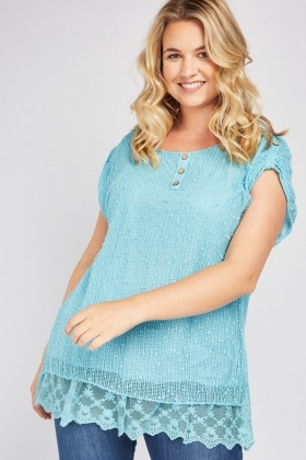 Embroidered Lace Underlay Crochet Top