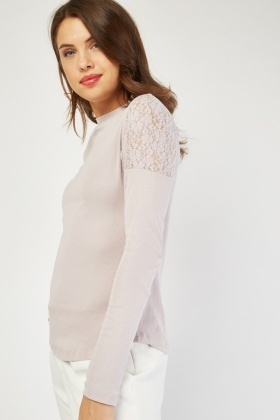 Floral Lace Insert Knit Top