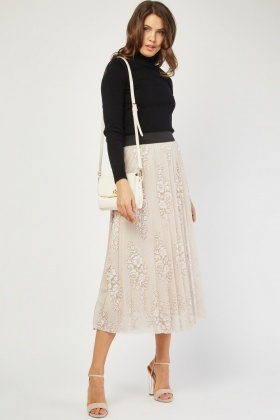 Floral Patterned Lace Midi Skirt