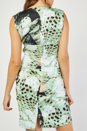 Ruched Snake Print Bodycon Dress