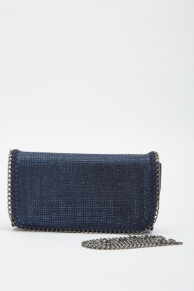 Encrusted Suedette Chain Clutch Bag