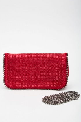 Encrusted Velveteen Clutch Bag