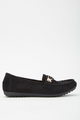 Faux Suede Cutwork Loafers