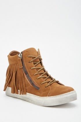 Fringed Suedette High Top Sneakers