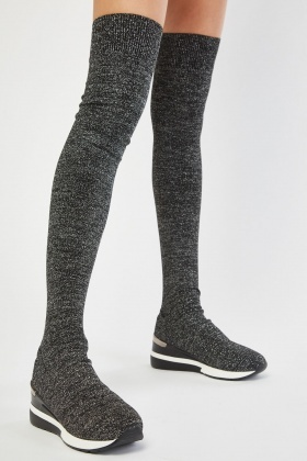 Knee High Lurex Sock Overlay Boots