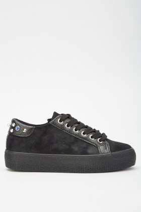 Mock Croc Gem Trim Sneakers