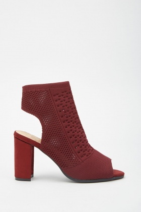 Open Toe Perforated Knit Heels