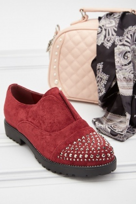 Studded Brushed Suedette Shoes
