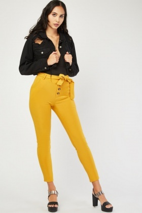 Belted High Waist Skinny Trousers