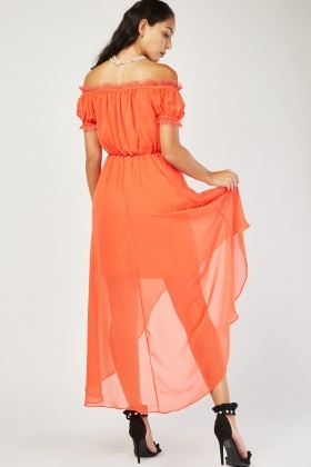 Gathered Net Trim Chiffon Dress