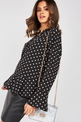 Tassel Metal Trim Polka Dot Blouse
